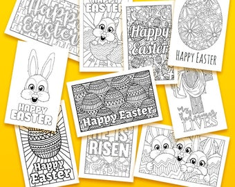 Easter Coloring Cards - 10 pack // Printable Greeting Cards, Easter cards, printable Easter activity, Easter coloring pages, PDF cards, card