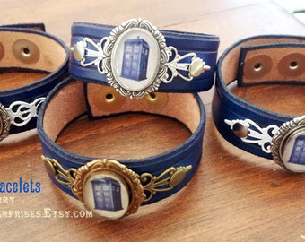 Doctor Who TARDIS - blue leather bracelet, handmade geeky British cosplay