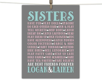 sisters room art - gray mint and pink twin girls nursery or playroom decor - sisters name prints or canvas, unique gift for sisters