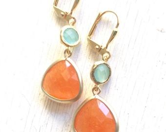 Orange and Aqua Dangle Earrings.  Orange Teardrop Mint Aqua Drop Earrings. Bridemaid Earrings. Bridesmaid Jewelry. Jewel Earrings.