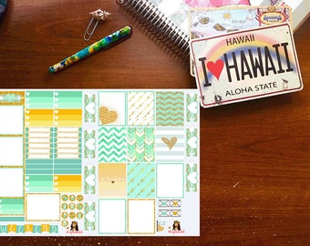 Mint/Gold Planner Stickers, Weekly Vertical Layout
