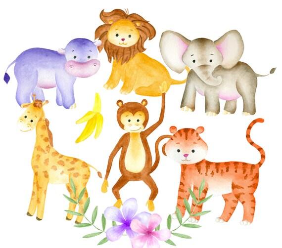 Jungle animals clipart Watercolor animals clip art Jungle