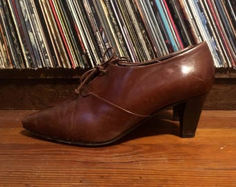 Vintage 1990s Womens NICKELS Wedge Heel Italian Leather Platform SHOES Size 8 1/2 Boho Mod
