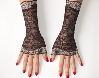 Black Fingerless gloves, Lace gloves, Black Lace Gloves, Fingerless Gloves, Lace Gloves, Black Gloves, Gloves, black fingerless, women glove