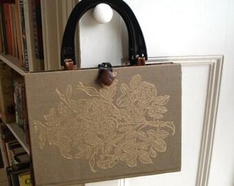 Book handbag in gold, green and bronze - gardening encyclopaedia