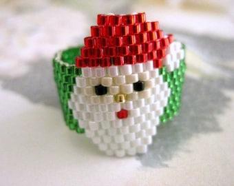 Peyote Santa Ring / Christmas Ring / Santa Ring / Beaded Ring / Seed Bead Ring / Size 5, 6, 7, 8, 9, 10, 11, 12,13 / Plus Size Ring