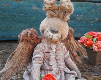 WINGED BUNNY. TEDDY. Artist Teddy Bear. teddy bunny. vintage bunny. teddy celestial.