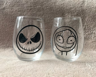 Jack Skellington and Sally Nightmare Before Christmas Inspired Stemless Wine Glasses Set of 2