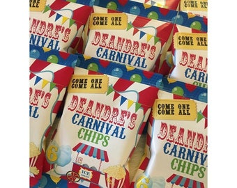 CARNIVAL Inspired Chip Bags, CIRCUS Inspired Chip Bags, Carnival Chip Bags, Carnival Favors, Circus Favors, Circus Chip Bag