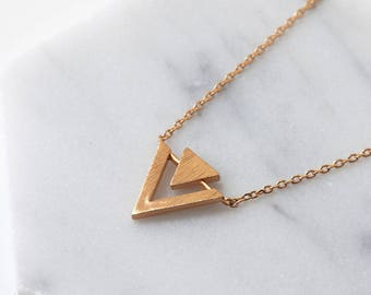 Rose Gold Triangle Necklace, Rose Gold Necklace, Delicate Layering Necklaces, Dainty Rose Gold Necklaces, Small Rose Gold Necklaces, N389-RG