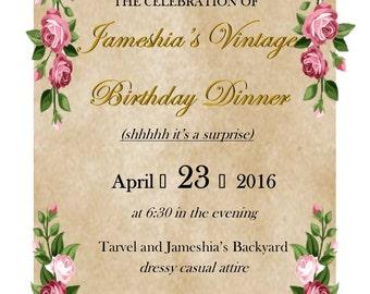Custom Vintage/Garden Theme Birthday Invitation