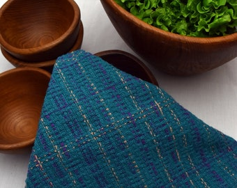 Handwoven Cotton Hand Towel in Turquoise Lace ht04cd
