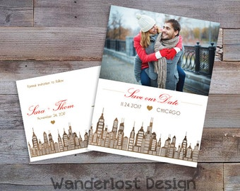 Custom Save the Date Template Postcard 5x7 Photo Cityscape Gold Metallic