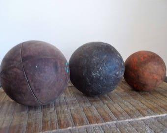 Three Antique Wooden Croquet or Bocce Balls