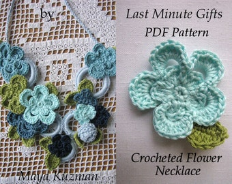CROCHET PATTERN Flower Necklace, crochet necklace,PDF Pattern - Crocheted Necklace Tutorial - Last Minute Gifts Series - Instant download