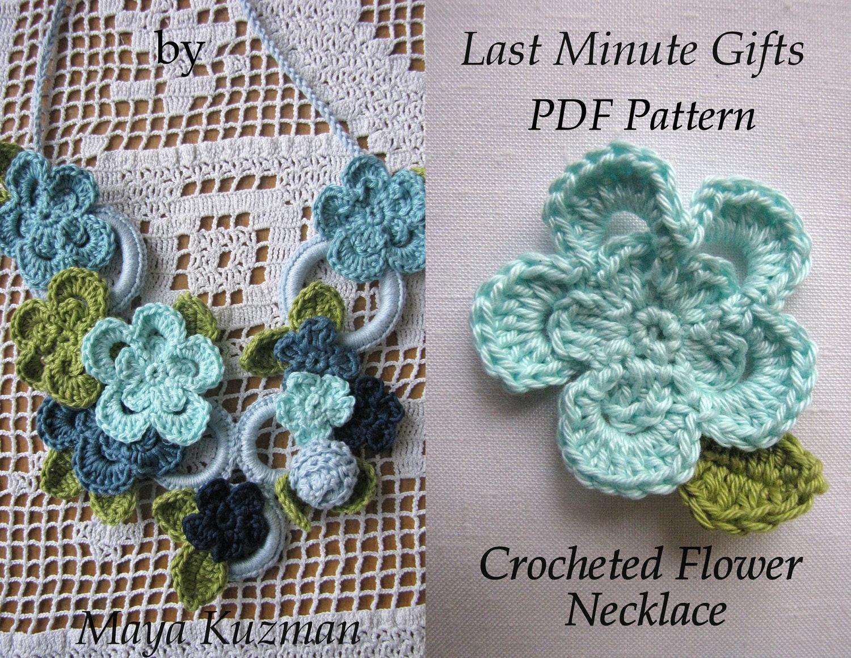 Crochet pattern flower necklace crocheted necklace zoom bankloansurffo Gallery