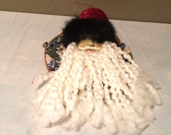 """Beautiful Vintage Santa Head Ornament 4"""" Tall by 9"""" Wide-Hand Made"""