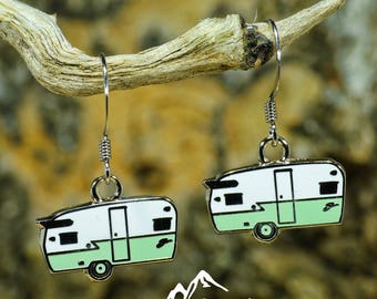 Seafoam Green Shasta Earrings, Shasta Ear Ring, Drop Dangle Earring, Vintage Camper, Glamping Gift, Camping Accessory, Vintage trailer