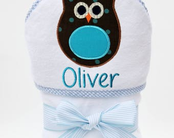 Baby Bath Towel, Hooded Baby Towel, Personalized Baby Towel, Monogrammed Towel, Owl Baby, Toddler Beach Towel, Baby Boy, Toddler Boy