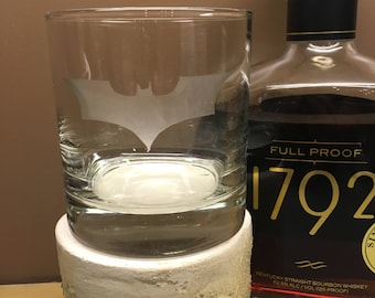 Batman Etched Whiskey Rocks and Wine Glass