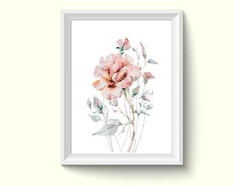 Rose Flower Watercolor Painting Poster Art Print P375