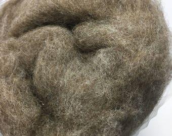 Natural brown, Short fiber merino wool batt for spinning or felting, 200g