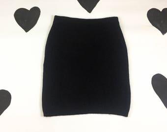 """80's 90's fluffy black wool angora knit sweater tube skirt 1990's classic simple minimalist fuzzy warm winter pencil skirt 31"""" waist M L XL"""