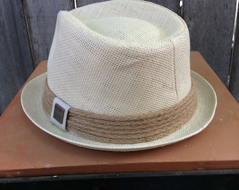 Beige Fedora with Rope Hat Band and Square Medallion on the Side of the Hat Band