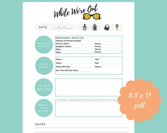 babysitter information sheet, emergency contact information, while we're out, printable, babysitter, emergency contact form