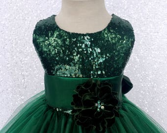 Fall Winter Christmas Dress Hunter Green Sequin 2 Layer Sash Velvet Flower Girl Wedding Birthday Pageant Graduation Party Recital Bridesmaid