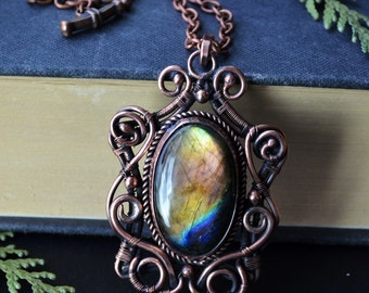 Labradorite pendant, golden labradorite, wire wrapped jewelry, wirewrapped, wire wrapped pendant, spectrolite, labradorite, victorian gothic