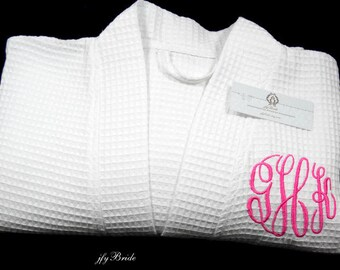 Monogrammed cotton robe Bridesmaid robe Cotton anniversary gift for her 2nd anniversary gift Personalized robe jfyBride 1707MC