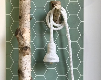 Lampe, garden pendant, crocheted in white, 6 meter cord