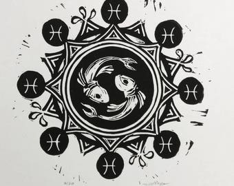 Pisces Mandala linocut fish zodiac sign hand-printed hand-carved