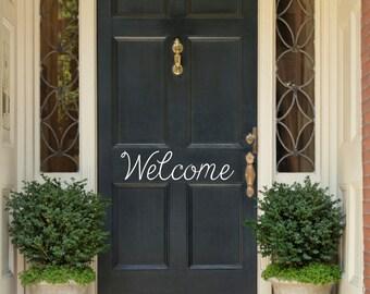Welcome Door Decal Front Door Decal Door Sticker Welcome Door Sticker Door Lettering Door Curb Appeal