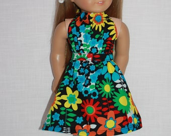 18 inch doll clothes, 2 piece set, floral print halter dress with matching belt, Upbeat Petites