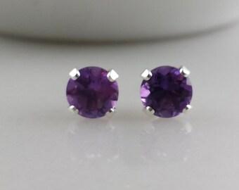 Sterling Silver Amethyst Gemstone Stud Earrings - February Birthstone Earrings- 5mm Amethyst Studs