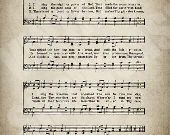 I Sing The Mighty Power of God Hymn Print - Sheet Music Art - Hymn Art - Hymnal Sheet - Home Decor - Music Sheet - Print - #HYMN-P-049