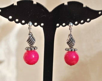 """Earrings """"Angie"""" hot pink and silver."""