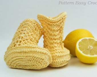 Knitted baby booties pattern - instant download