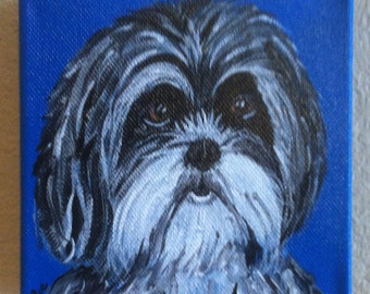 Custom pet portrait, Original Acrylic on Canvas