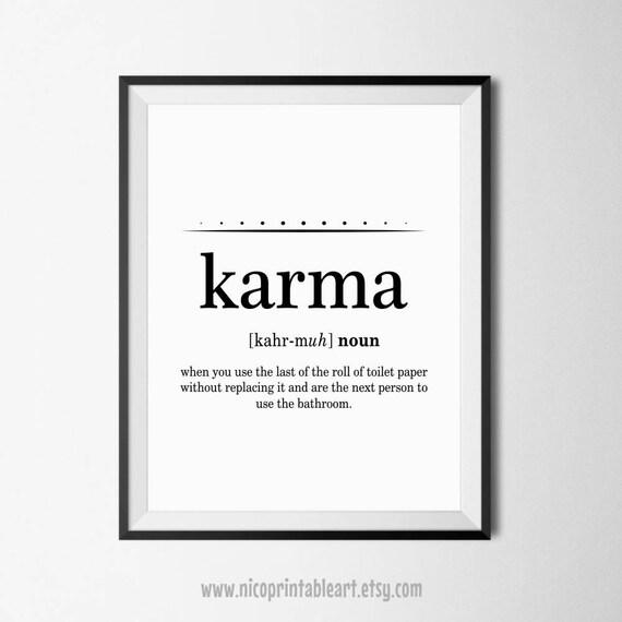 Karma Definition Print Karma Poster Bathroom Wall Quotes