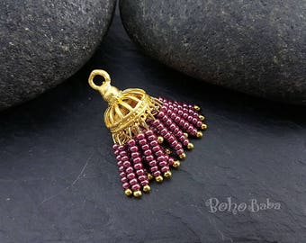 Mini Tassel, Plum Purple Tassel, Seed Beaded Tassel, Gold Tassel, Bohemian Jewelry, Beaded Tassel, Tassel Necklace, Tassel Earring, mykt