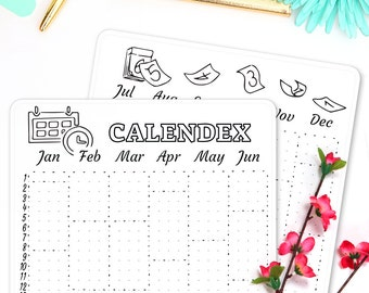 "Calendex Stickers • Calendar 2018 • Bullet Journal Stickers • fit Leuchtturm & Moleskine • 5"" x 7"""