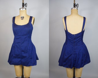 1950s Blue Breeze Bathing Suit / Skirted Swimsuit / Cole of California Swimsuit / Large