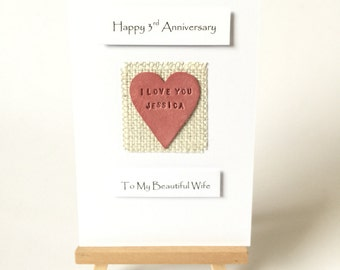 3rd Anniversary Card Leather For Him Husband For Her Wife Personalized Name - Hand Stamped Leather Handmade in UK