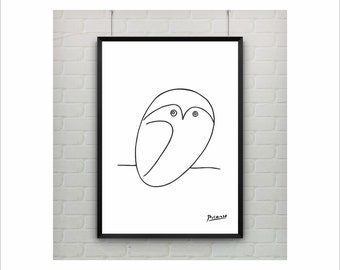 "Pablo Picasso ""Owl"" Oneliner poster on paper or canvas / Abstract Animals / up to A0 size / Minimalist Art / Wall Art / Kids Room Decor"