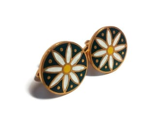 for men gifts for him gift ideas for men cuff links green floral cuff links from USSR vintage cuff links wedding cuff links groom gift 21jhk
