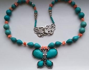 Blue Turquoise& Coral Butterfly Necklace, Silver Tibetan/ Nepali pendant, Howlite Tear Drop Necklace- Bohemian Boho by enchantedbeas on Etsy