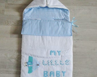 Bunting for baby made by hand - colors Blue and white suitable for car seat baby - baby blanket - embroidery